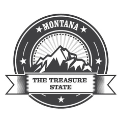 Montana mountains - treasure state stamp label vector
