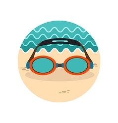 Swimming goggles icon summer vacation vector