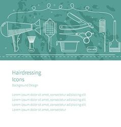 Background horizontal hairdressing icons vector image