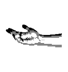 black 8-bit human hand with vector image vector image