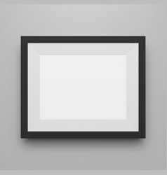 Black empty picture frame realistic template vector
