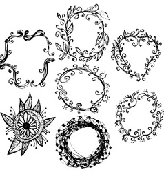 Circle floral borders Sketch frames hand-drawn vector image