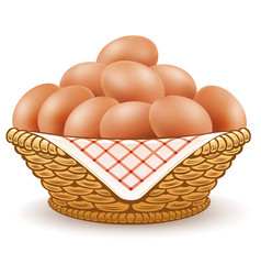 Eggs in basket isolated on white vector