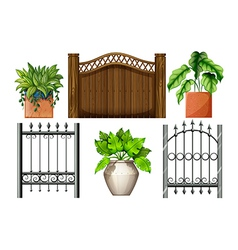 Fences and plants vector