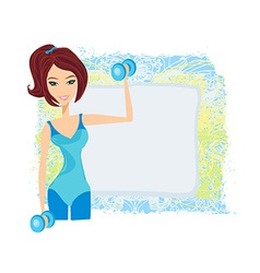 fit brunette woman exercising with two dumbbell vector image vector image