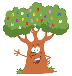 Friendly alphabet tree waving vector