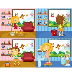 Girl doing chores in the house vector