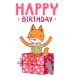 Happy birthday fox vector image vector image