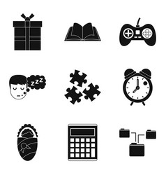 information exchange icons set simple style vector image