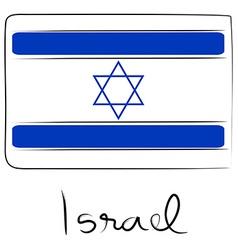Israel flag doodle vector image vector image