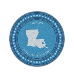 Label with map of louisiana Denim style vector image vector image