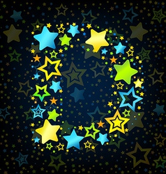 Letter d cartoon star colored vector