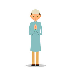 muslim prayer muslim islamic man stand and pray vector image