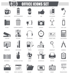 Office black icon set Dark grey classic vector image vector image