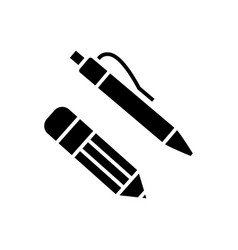 pen and pencil icon black vector image