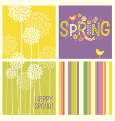Retro spring flowers doodles and stripes vector