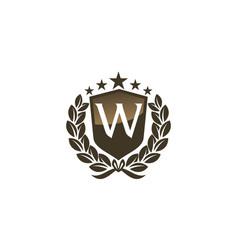 Royal vip shield leaf initial w vector