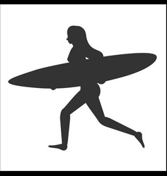 Running surfer woman with surfboard vector