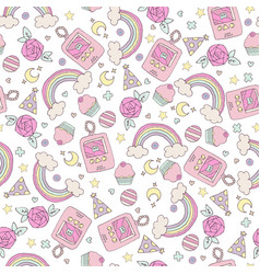 Seamless pattern with rainbow and cupcakes vector