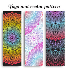 Set of colorful yoga mat pattern vector