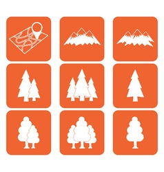 Set of map and natural areas icons vector