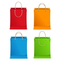 Shopping bags orange blue green and red vector image vector image