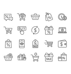Shopping line icons gifts wallet and sale vector