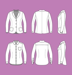 Simple outline drawing of a long sleeves shirt and vector image vector image