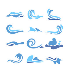 wave water icon set flowing water elements vector image vector image