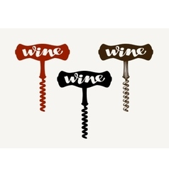 Wine logo Corkscrew icon or symbol vector image vector image