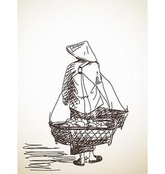 Woman carrying a yoke vector image