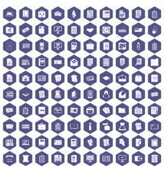 100 document icons hexagon purple vector