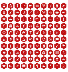 100 exotic animals icons hexagon red vector