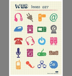 Household appliances and electronics web icons set vector