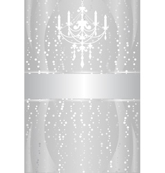 Shiny silver frame with chandelier vector image