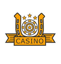 Casino poker gambler roulette and golden horseshoe vector