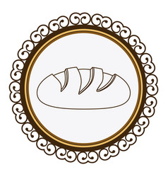 Decorative frame with silhouette homemade bread vector