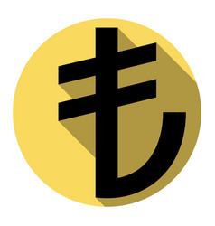 turkiey lira sign  flat black icon with vector image