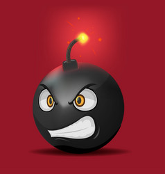 bomb cartoon anger face emotion vector image