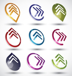 Abstract arrows icons set vector