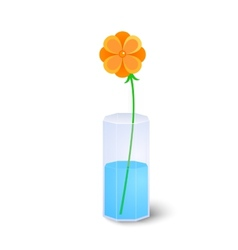 Single flower in vase vector