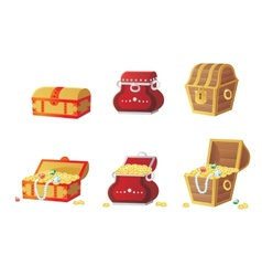 Treasure chest full of gold vector