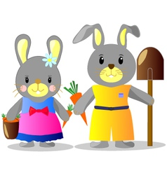 Bunnies with carrots and shovel b vector