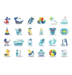Newborn baby boy icons setbaby shower kit vector