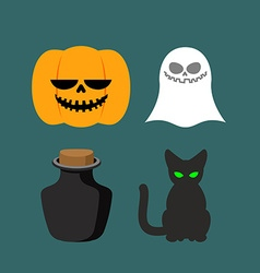 Set of icons for halloween symbol dreaded holiday vector