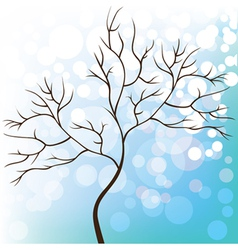 Winter snow background tree without leaves vector
