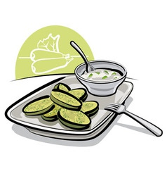 Fried zucchini with sauce vector