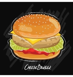 Burger isolated on black background vector