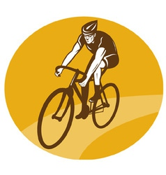 Cyclist riding racing bike retro vector