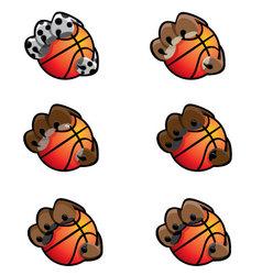 Basketball animal claw icon set vector
